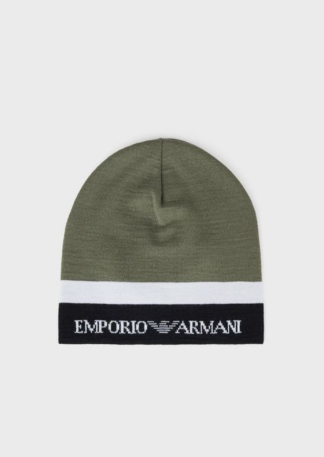 Wool beanie with jacquard logo