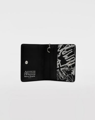Small Leather Goods Graffiti keychain wallet Black