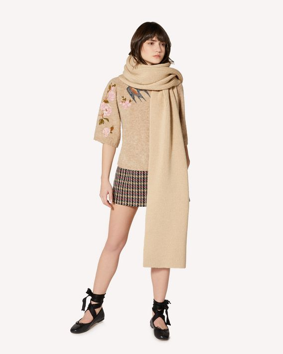 REDValentino Ribbed wool maxi scarf