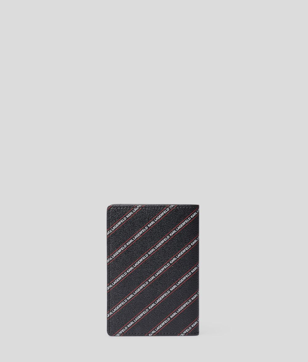 KARL LAGERFELD K/Stripe Ikonik Passport Cover Cardholder Woman d
