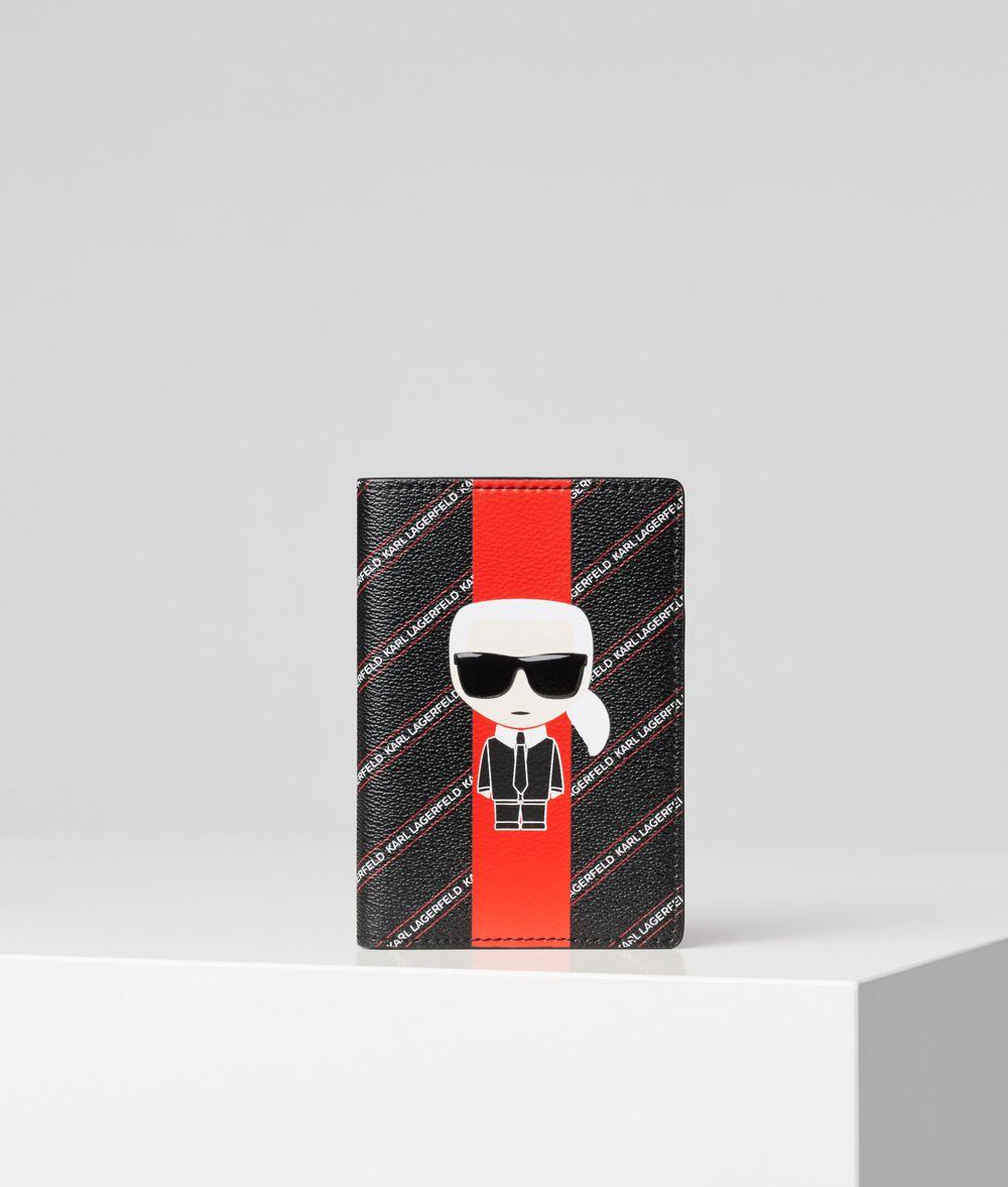 KARL LAGERFELD K/Stripe Ikonik Passport Cover Cardholder Woman f