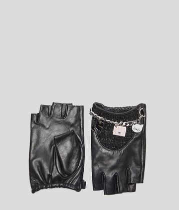 KARL LAGERFELD K/CHARMS TWEED GLOVES
