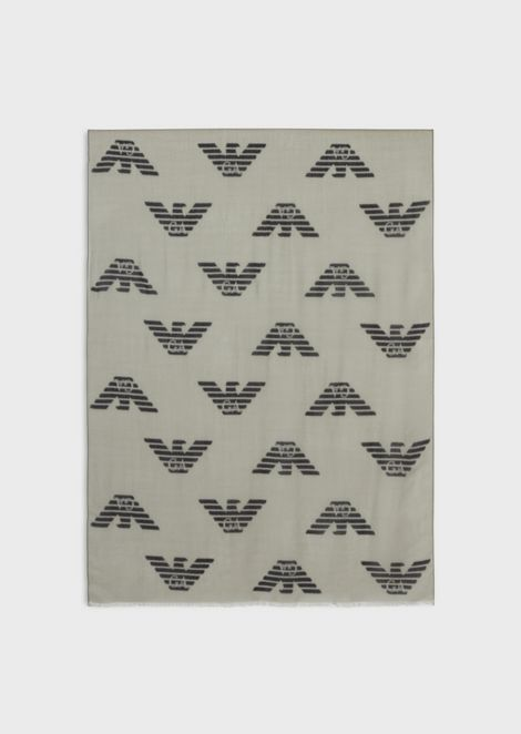 Pure virgin wool scarf with all-over eagle logo
