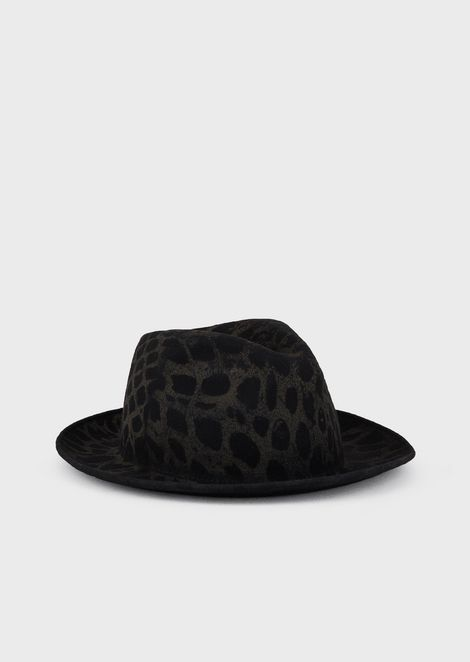 Animal-print, felt-wool fedora hat