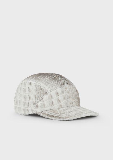 Coconut-print velvet baseball cap