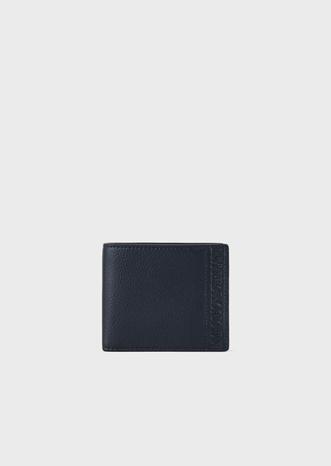 Wallet in regenerated leather with embossed logo