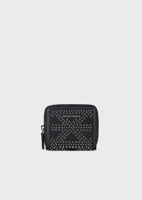Leather mini wallet with micro-studs