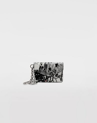 Small Leather Goods  Graffiti envelope keyring  White
