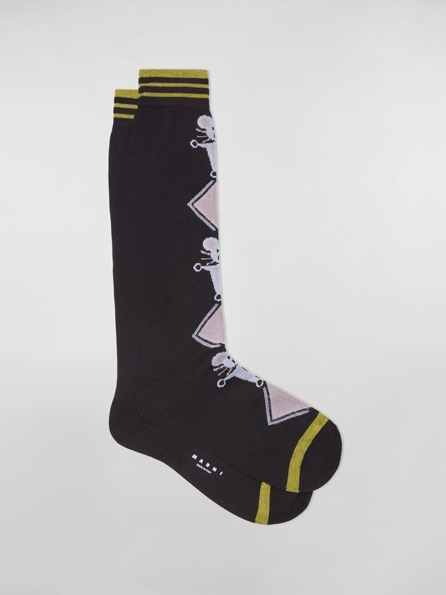 Marni CHINESE NEW YEAR 2020 inlayed cotton and nylon sock black Woman - 1