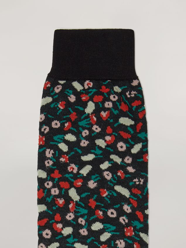 Marni Sock in cotton and nylon jacquard Liz pattern black Woman - 3