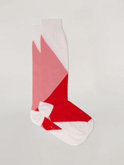 Marni Inlayed sock in cotton and nylon pink red and white Woman
