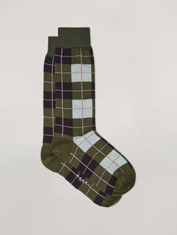 Marni Sock in cotton and nylon jacquard green black grey and pink Woman
