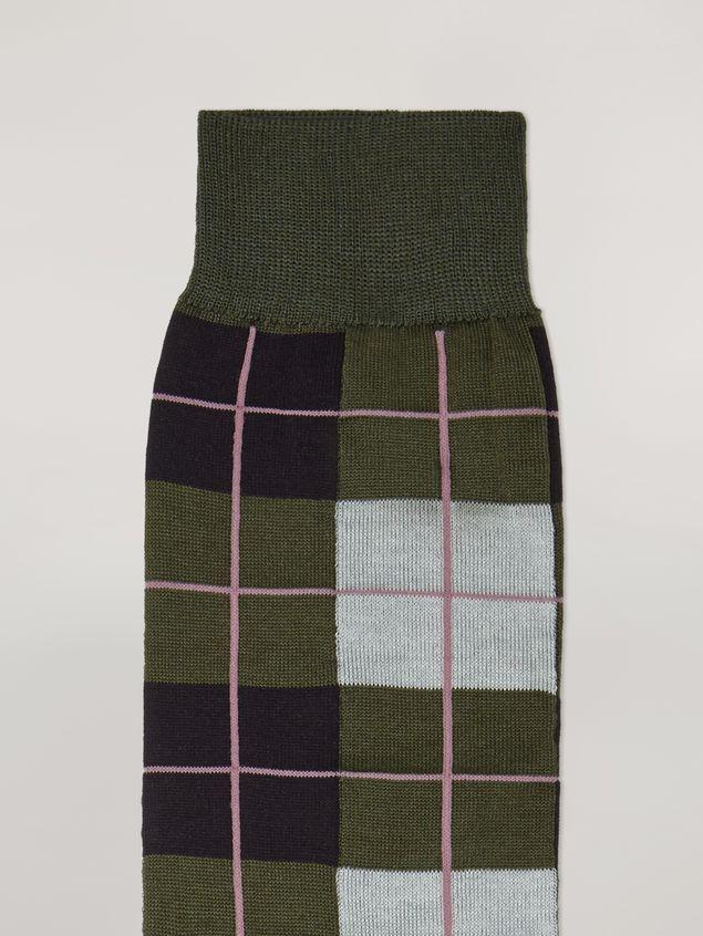 Marni Sock in cotton and nylon jacquard green black grey and pink Woman - 3