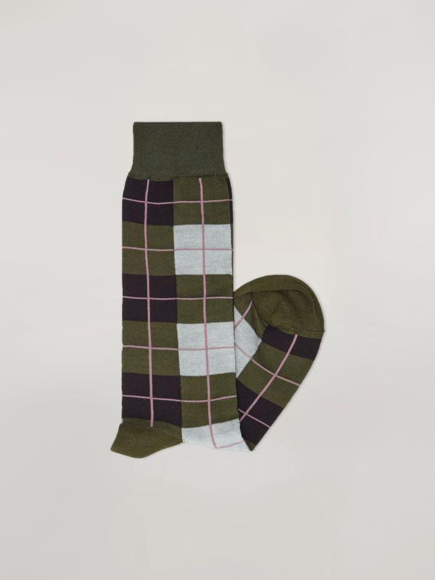 Marni Sock in cotton and nylon jacquard green black grey and pink Woman - 2