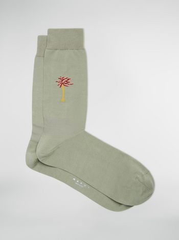 Marni Socks in cotton and nylon with palm tree inlay Man f