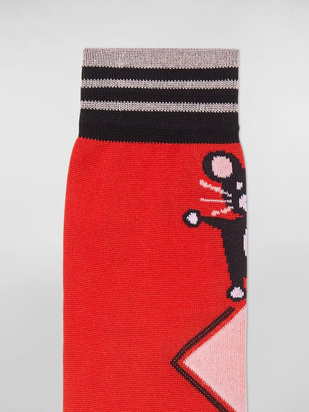 Marni CHINESE NEW YEAR 2020 inlayed cotton and nylon sock red Woman - 3