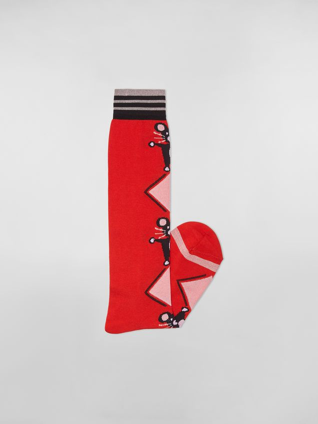 Marni CHINESE NEW YEAR 2020 inlayed cotton and nylon sock red Woman - 2