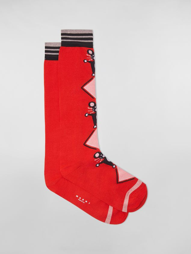Marni CHINESE NEW YEAR 2020 inlayed cotton and nylon sock red Woman - 1