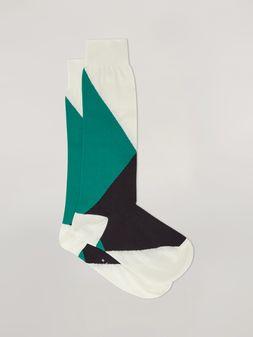 Marni Strumpf aus Baumwolle und Nylon mit Intarsien in Grün, Schwarz und Weiß Damen
