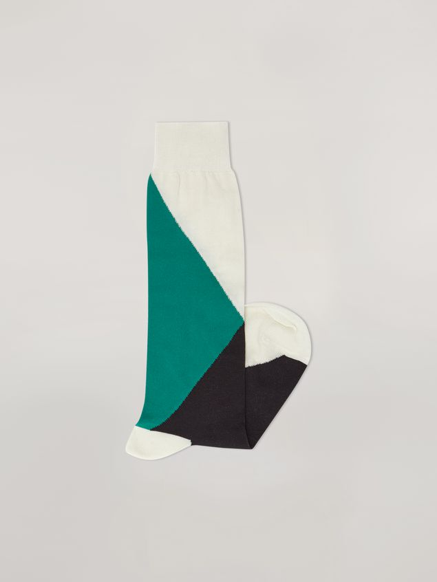 Marni Inlayed sock in cotton and nylon green black and white Woman - 2
