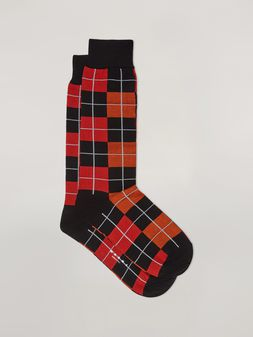 Marni Sock in cotton and nylon jacquard red black orange and grey Woman