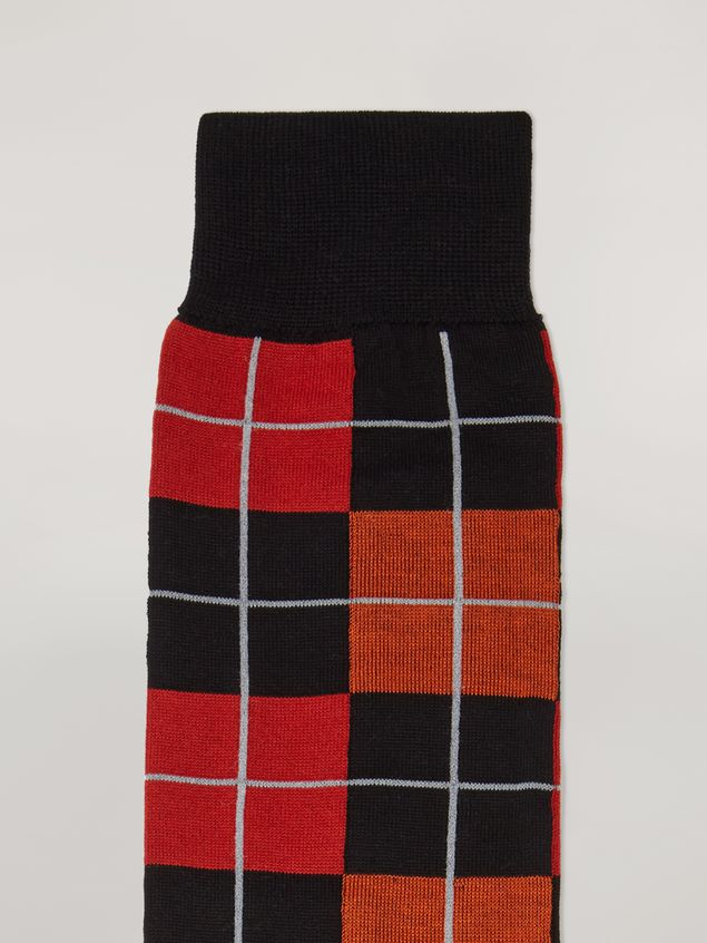 Marni Sock in cotton and nylon jacquard red black orange and grey Woman - 3