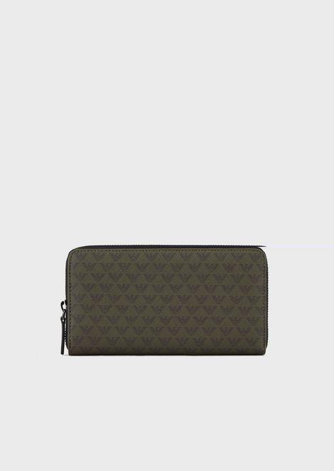 Full-zip wallet with all-over monogram