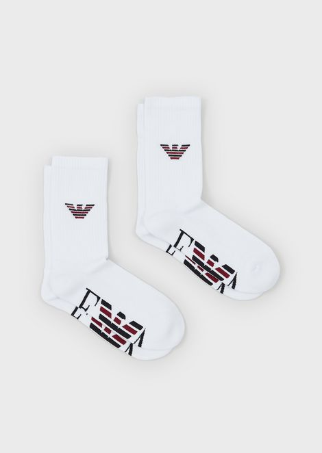 Pack of 2 pairs of terry cotton socks with logo