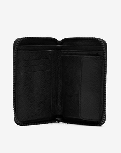 レザー小物 Zip-around grainy leather wallet ブラック