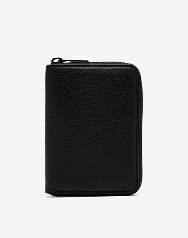 ACCESSORIES Zip-around grainy leather wallet Black