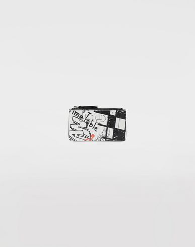 Small Leather Goods  Graffiti zip wallet White