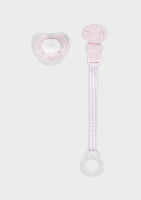 Baby care set with soother and strap