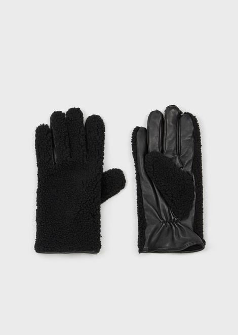 Leather gloves with faux-fur back