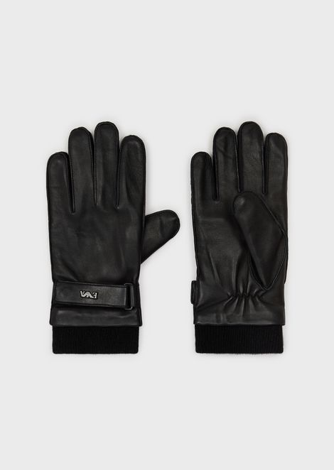 Leather gloves with straps
