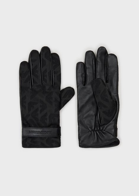 Leather gloves with jacquard back