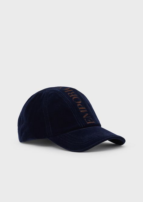 Velvet baseball cap with laser-cut logo