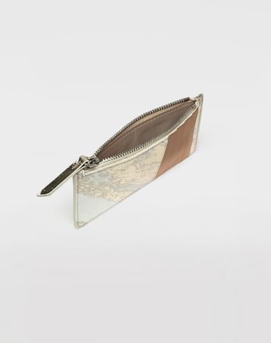 Small leathergoods Kartenetui in Metallic-Optik mit Reißverschluss Gold