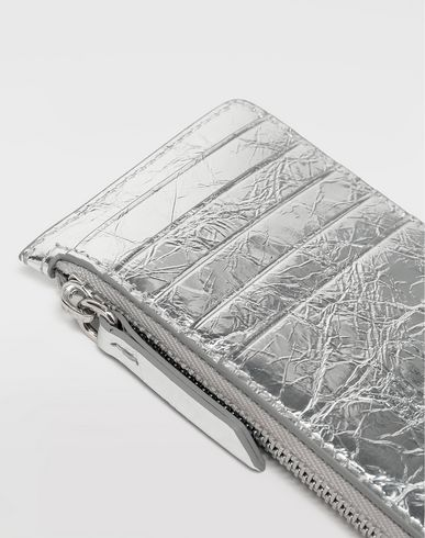Small Leather Goods  Metallic zipped cardholder Silver