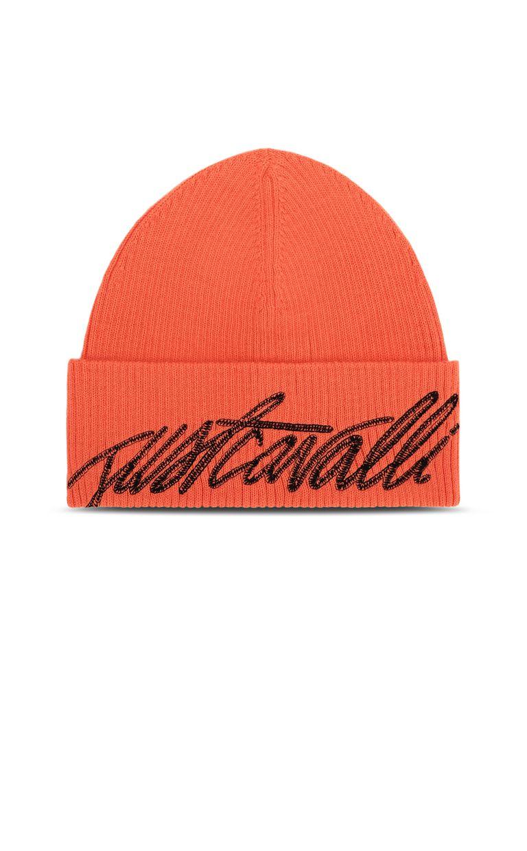 JUST CAVALLI Neon-orange beanie with logo Hat Man f
