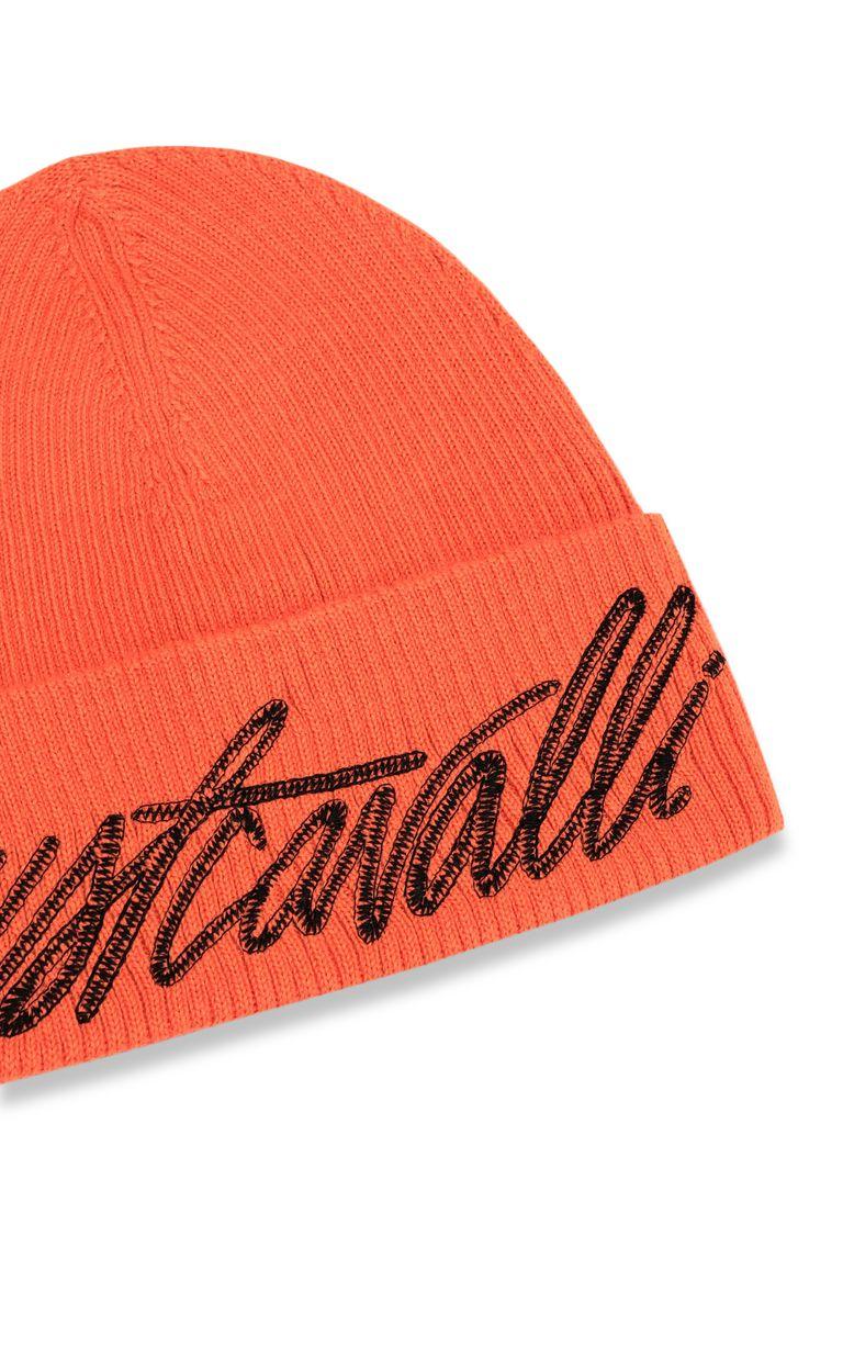 JUST CAVALLI Neon-orange beanie with logo Hat Man r