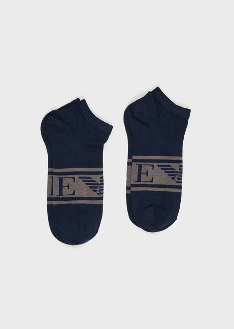 Pack of 2 pairs of trainer socks with monogram logo