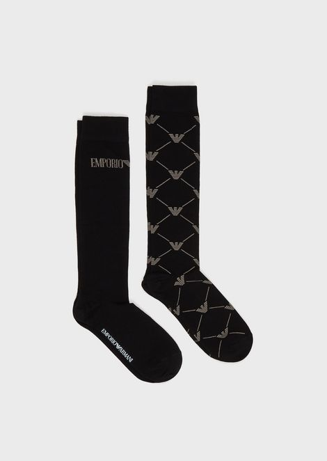 Pack of 2 pairs of knee-high socks with logo