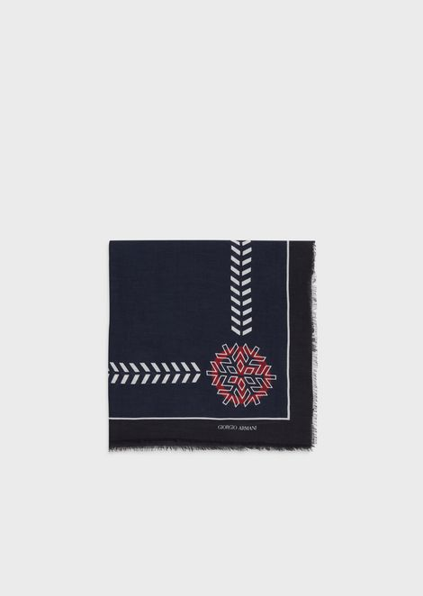 Silk jacquard headscarf with triangle motif