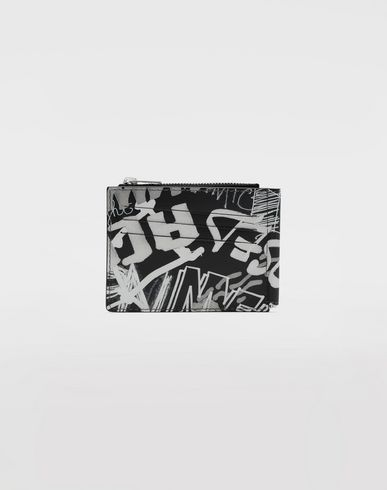 Small Leather Goods Graffiti zip wallet Black