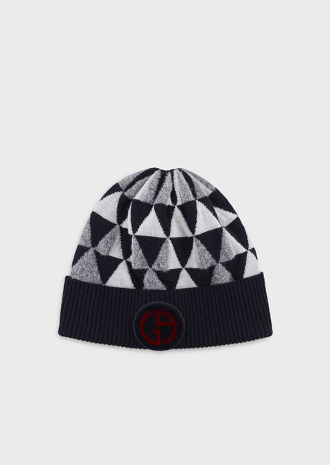 Jacquard-knit beanie with triangle motif