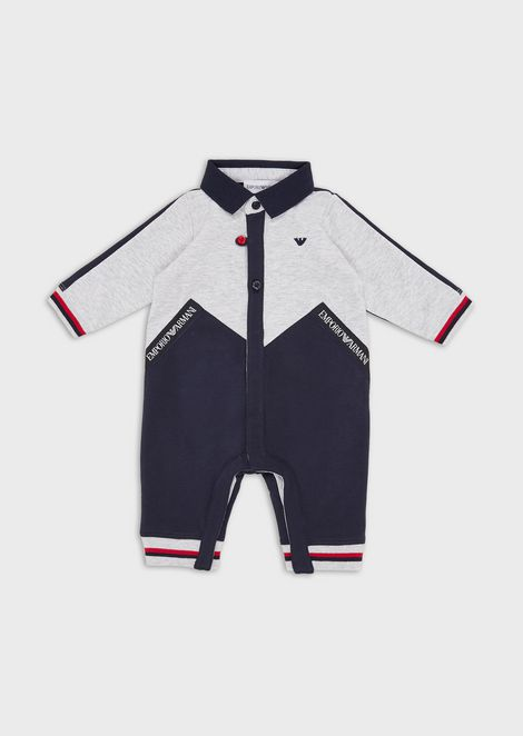 Baby suit with logo inserts