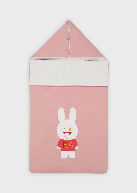 Bunny-print sleeping bag