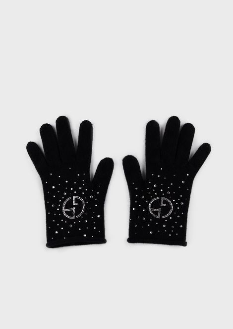 Cashmere gloves with rhinestones