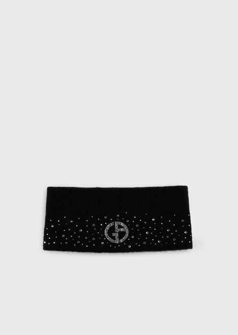 Cashmere headband with rhinestones