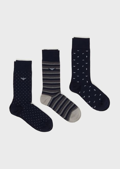 Pack of 3 pairs of multi-patterned socks